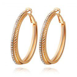 Pair of Rhinestones Layered Hoop Earrings