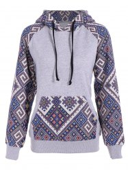 Front Pocket Jacquard Tribal Hoodie - GRAY AND BLUE XL