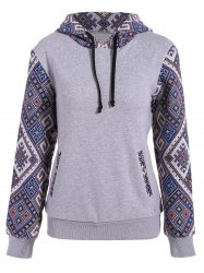 Front Pocket Jacquard Panel Hoodie - GRAY S
