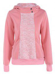 Lace Panel Pullover Hoodie -
