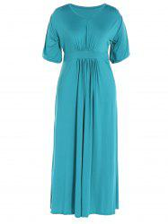 Ruched V Neck Maxi Prom Dress