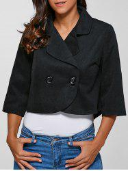 3/4 Sleeves Buttoned Jacket - BLACK 3XL