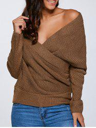 Crisscross Surplice Pullover Sweater -