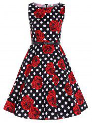 Zip Back Sleeveless Printed Polka Dot Belted Dress