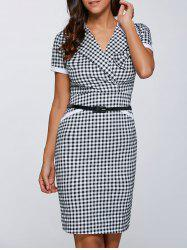 Surplice Gingham Belted Sheath Dress -