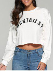 Cocktails Cropped Printed Sweatshirt - WHITE L
