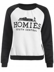 Raglan Sleeve Color Block Homies Cartoon  Print Sweatshirt