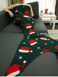 Christmas Hat Pattern Knitted Wrap Mermaid Tail Blanket -