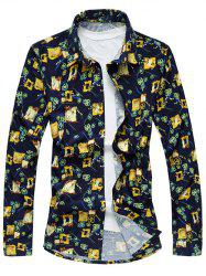 Plus Size Abstract Floral Print Long Sleeve Shirt - COLORMIX 6XL