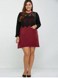 Lace Patchwork Openwork Wool Dress -