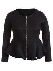 Skirted Plus Size Frayed Hem Peplum Jacket - BLACK