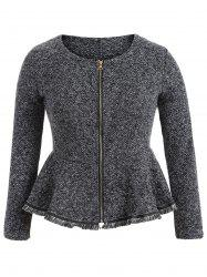 Skirted Plus Size Frayed Hem Peplum Jacket