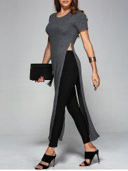Ribbed Long High Slit Knitwear - GRAY XL