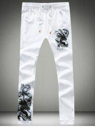 Dragon Calligraphy Print Lace-Up Jogger Pants -