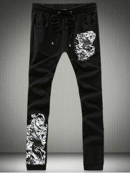 Dragon Calligraphy Print Lace-Up Jogger Pants