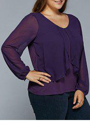 Plus Size Sheer Sleeve Overlay Blouse -