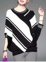 Batwing Sleeve Contrast Striped Knitwear -