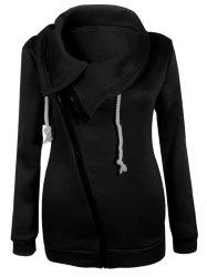 Inclined Zipper flocage Sweatshirt - Noir