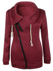 Inclined Zipper Pockets Sweatshirt - DEEP RED M