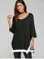 Contrast Trim Asymmetrical Smock Blouse - WHITE AND BLACK XL