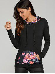 Floral Trim Single Pocket Drawstring Hoodie