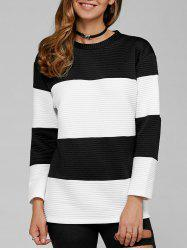 Ribbed Sweatshirt - WHITE AND BLACK