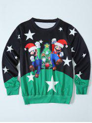 Mario Color Block Christmas Sweatshirt - BLACK AND GREEN L