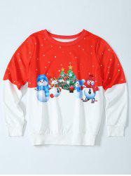 Snowman Christmas Pullover Sweatshirt - RED WITH WHITE XL