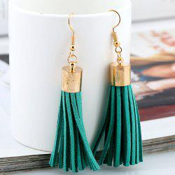 Faux Leather Velvet Tassel Earrings