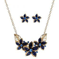 Rhinestone Flower Necklace and Earrings