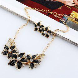 Rhinestone Flower Necklace and Earrings - BLACK