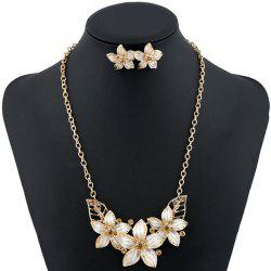Rhinestone Flower Necklace and Earrings - WHITE