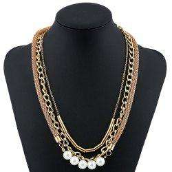 Faux Pearl Alloy Chain Layered Necklace -