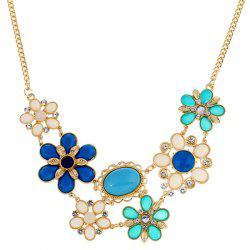 Fake Gem Flower Statement Necklace - BLUE