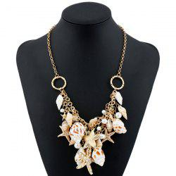 Faux Pearl Starfish Conch Circle Costume Necklace - GOLDEN