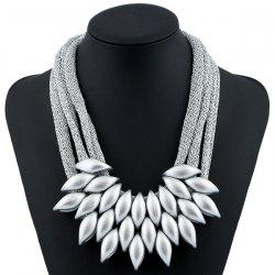 Alloy Leaf Necklace - SILVER