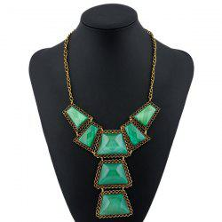 Vintage Geometric Resin Necklace -