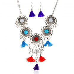 Tassel Moon Floral Layered Jewelry Set - COLORMIX