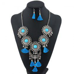 Tassel Moon Floral Layered Jewelry Set