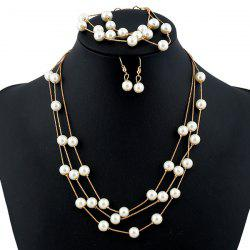 Faux Pearl Bridal Necklace Earrings and Bracelet -