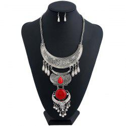 Moon Water Drop Tassel Jewelry Set - SILVER AND RED