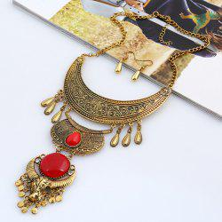 Moon Water Drop Tassel Jewelry Set - GOLD AND RED