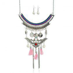 Faux Pearl Leaf Coin Jewelry Set -