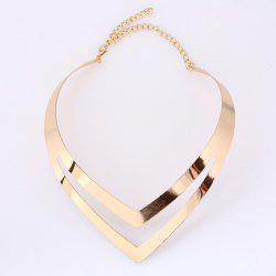 V Shaped Alloy Necklace - GOLDEN