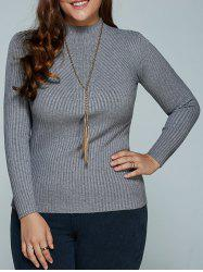 Plus Size Ribbed Fitted Knitwear -