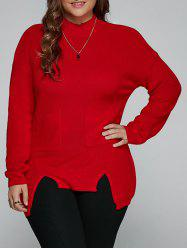 Plus Size Slit High Low Sweater - RED 5XL