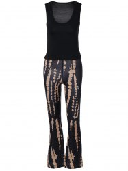 Plung Tank Top and   Printed Boho Pants Set -