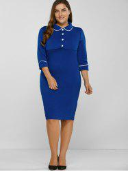 Fitted Contrast-Trim Buttoned Sheath Dress -