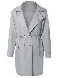 Drawstring Waist Double Breasted Long Trench Coat -