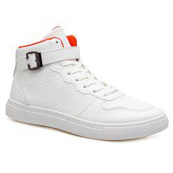 Tie Up Buckle PU Leather Boots - WHITE 43